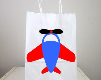 Airplane Goody Bags, Airplane Favor Bags, Plane Goody Bags, Plane Favor Bags, Red Blue Stars