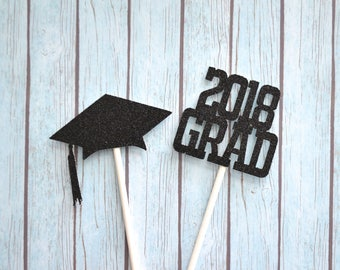 Graduation Cupcake Toppers Class of 2018, 2018 Grad Cupcake Topper, Graduation Party Decorations, Grad Party Decorations, Graduate Toppers