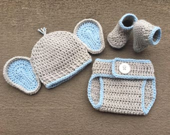 Baby Elephant Outfit, Newborn Elephant Outfit, Elephant Costume, Elephant Set, Baby Crochet Elephant, Baby Shower Gift, Newborn Photo Prop