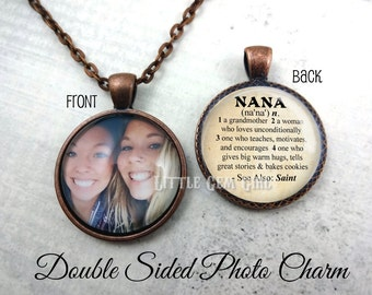 Nana Necklace - Personalzied Picture Charm - Custom Photo Double Sided Nana Necklace OR Keychain- Nana Dictionary Definition - Mothers Day