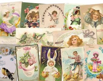 Vintage Easter Card, Vintage illustration, Easter cards, Easter postcards, Vintage Victorian Easter Cards BUY 2 GET 1 FREE