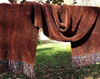 Tobacco Handwoven Chenille Scarf for Men or Women, Available in Two Sizes