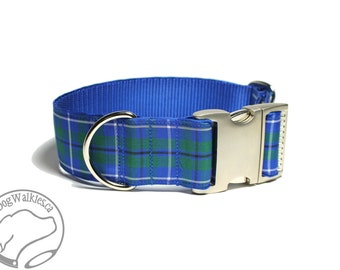 """Ancient Douglas Clan Tartan Dog Collar - 1.5"""" (38mm) Wide - Green and Blue Plaid - Wide Martingale or Side Release -Choice of style and size"""