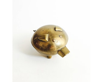 Vintage Brass Pig Box