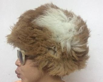 Sheepskin fur hat pale white papakha Caucasus Russia ,Astrakhan hat , Papaha Hat , Winter Hat, Army Russian Hat, Dagestani hat, Size 22- 25