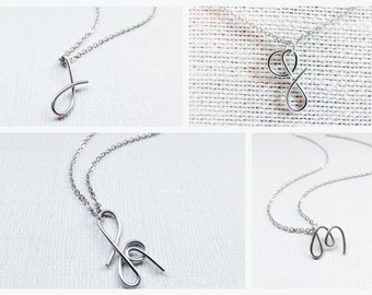 Sterling Silver Letter Necklace, Silver Initial Necklace, Wire Initial Necklace, Letter Necklace, Initial Necklace, Initial Jewelry