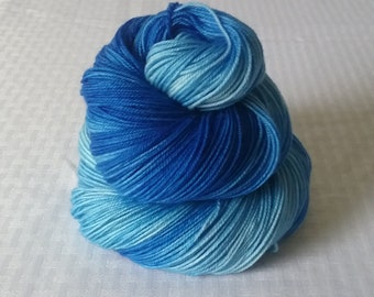 "Hand dyed Yarn / Handdyed Yarn, Sock Yarn, Gradient Yarn - ""True Blue"" Tonal Yarn –  75/25 Superwash Merino and Nylon – 100g"