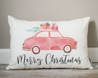 Merry Christmas Pillow | Christmas Red Car Pillow | Holiday Pillow | Christmas Gift | Rustic Decor | Holiday Decor | Christmas Decor