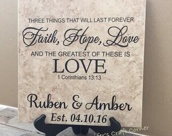 Faith Hope Love, Faith Hope Love Tile, Faith Hope Love Sign, Personalized Name Tile, 1 corinthians 13, 1 corinthians 13 sign, wedding gift