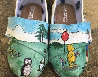 Hand Painted Winnie the Pooh childerens shoes