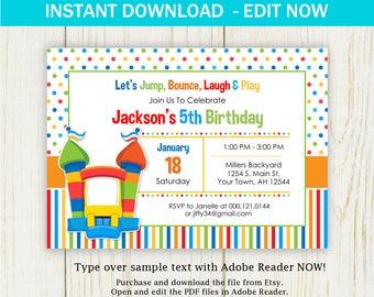 Bounce House Birthday Invitation - party invitation - edit now - instant download