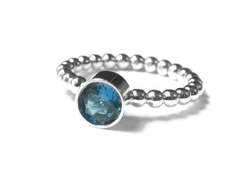 Stacking ring, Blue zircon ring, Beaded bubble ring with birthstone solitaire