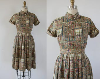 vintage 50s dress set / 1950s Egyptian Dress / 50s Dress Set / novelty print dress / SZ XS S Small