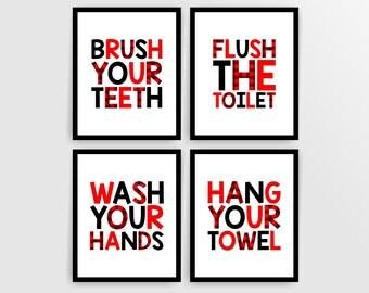 Buffalo plaid bathroom signs Kids bathroom wall art prints bathroom rules printable bathroom decor digital art prints