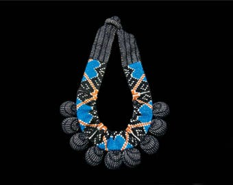 SILVINA - Statement Necklace - Traditional Textiles (Black) - Cross Stitch Embroidery (Blue/Black/Orange)