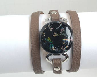 Dragonfly Sparkle Triple Wrap Cuff Bracelet, Dichroic Glass