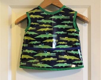 Toddler Feeding Bib Toddler Waterproof Art Smock in Blue with Alligators