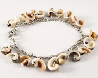 Shell charm bracelet on sterling chain - cream, light orange, sage green, black - intention jewelry, one of a kind