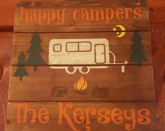 Hand Painted Sign - Happy Campers - personalized with family name