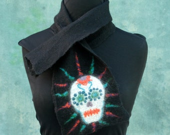Candy Skull Scarflette - Hand Felted Merino Wool - Day of the Dead - Dia de los Muertos - Wool Scarf - Black - Skull Scarf