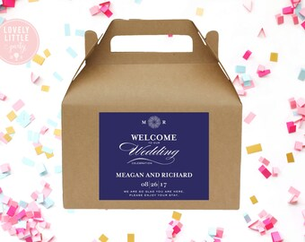 Printable Meagan Modern Wedding Welcome Bag Labels  -  LOVELY LITTLE PARTY