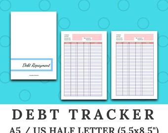 DEBT TRACKER - debt repayment log - Finances - A5 / US half letter size ring or disc bound planner insert - printable digital download