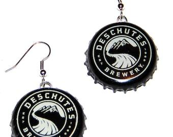 Deschutes Brewery Beer Bottle Cap Earrings Jewelry - From actual Bottle Caps