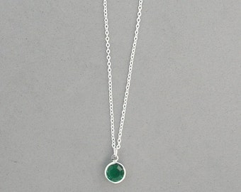 8 mm May Birthstone- Emerald Swarovski Drop Necklace Gold or Silver plated