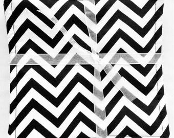 Black and White Chevron Mug Rug Coasters  set of 6