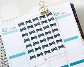 PS4 game controller stickers, 35 x matte or glossy planner stickers, life planner stickers, erin condren filofax, mambi happy planner
