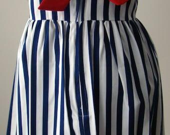 Girls Sailor Dress : Navy and White Striped Sleeveless Dress in 4T