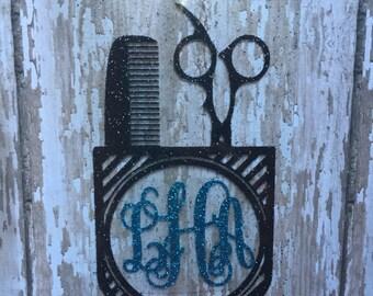 Hair Stylist Monogram Iron on Decal/ Hairdresser Monogram Iron on Decal/ Stylist Monogram Decal