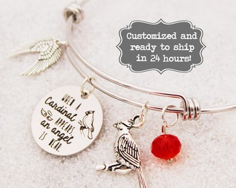 When A Cardinal Appears, An Angel is near Bangle Bracelet, Custom Name Charm Bracelet, Grieving, Loss of Loved One, Death of Family Friend