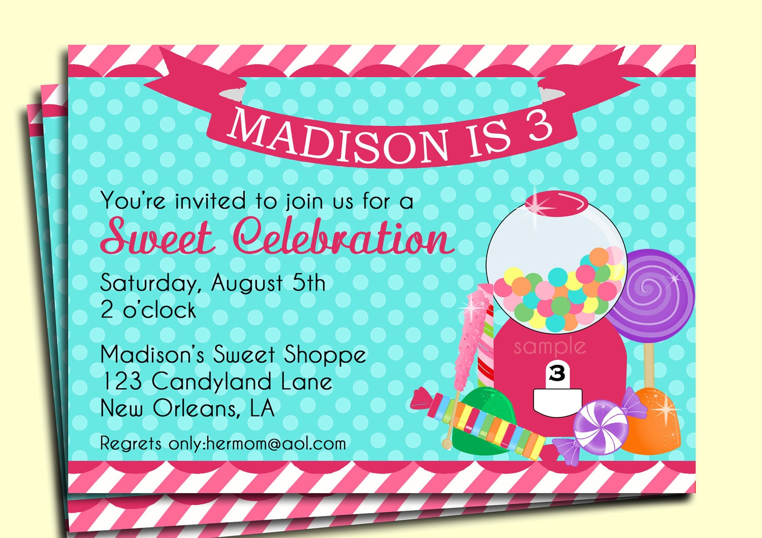 Candy Party Invitation Printable My Little Sweet Shoppe