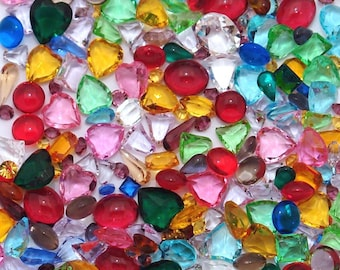 200 Unfoiled vintage glass rhinestones - assorted colors shapes and sizes