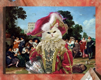 Persian Cat Fine Art Canvas Print - The Garden Lunch
