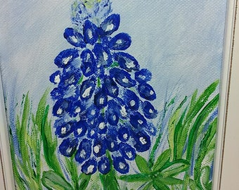 Bluebonnet Painting/Small Art/Original Painting