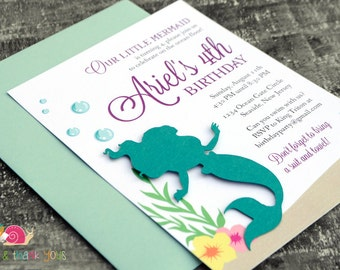 Little Mermaid Invitations · A6 FLAT · Turquoise and Purple · Under the Sea Birthday Party | Ariel Baby Shower | Pool Party