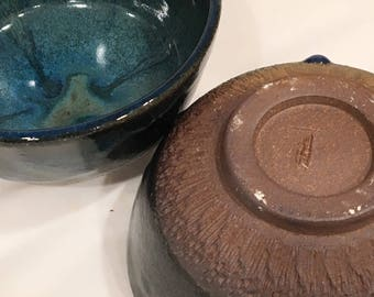 Pair of Handmade Ceramic Bowl,  Pottery Bowl, Turquoise bowl CBFEB18TQZ5
