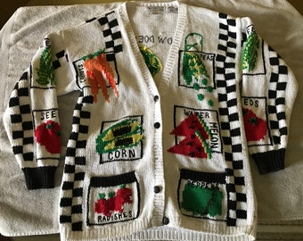 Vintage, Hand Knit Gardeners Sweater, Raphels, How Does Your Garden Grow