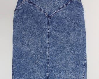 1980's Stone Wash Denim High Waisted Pencil Skirt 100% Cotton