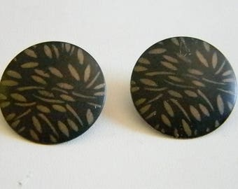 Black Tan Speckled Round Button Pierced Earrings