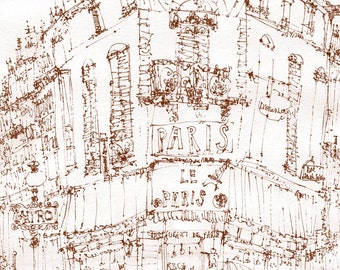 PARIS CAFE DRAWING, Building Pen Sketch, Signed France Print, Pen Drawing Sketch, French Cafe Art, Metro Sign Parisian Home Decor Sepia