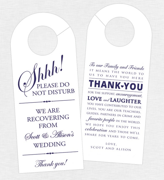 Do You Give A Gift For A Destination Wedding: Set Of 10 Double-Sided Door Hanger For Wedding Hotel Welcome