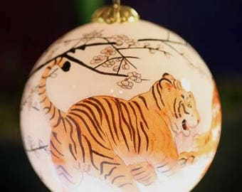 Asian Tigers Glass Ornament Painted with 2-Hair Brush in Reverse on Inside