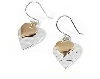 Sterling Silver Double Heart Earrings.