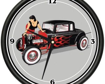 Hot Rod Wall Clock Cars Street Racing Mechanic Gift
