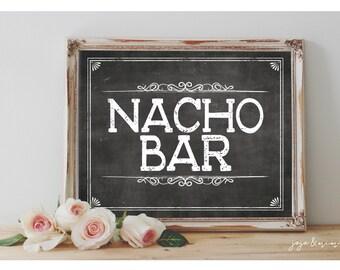 Instant 'NACHO BAR' Printable Sign Chalkboard Printable Party Nacho Bar Fiesta Decor Size Options