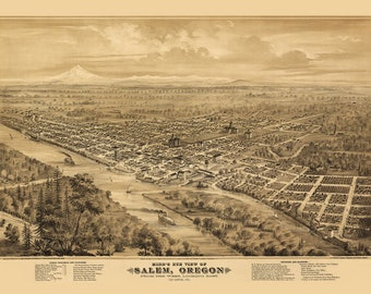 Vintage Map - Salem, Oregon 1876
