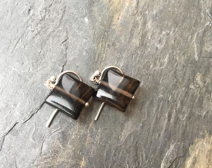 Puffy Square Smoky Quartz Littles Earrings Brown Chocolate Talisman Sterling Silver Good Luck